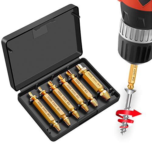 6 Piezas Extractor de Tornillos,Guiseapue Extractor de Tornillos Rotos para Elimina los o Sacar Tornillos Roto HSS 4341# Dureza 62-63HRC para Tornillos y Pernos Dañados Desde 2-12mm (Dorado)