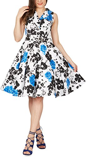 BlackButterfly 'Luna' Retro Serenity Kleid im 50er-Jahre-Stil (Weiß & Blau, EUR 36 - XS)