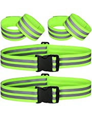 TALITARE 6 Pieces Reflective Band Strap Safety Reflective Glow Belt PT Belt High Visibility Reflective Waist Belt for Arm, Wrist, Ankle, Leg Running Cycling Walking Marathon, Fluorescent Green