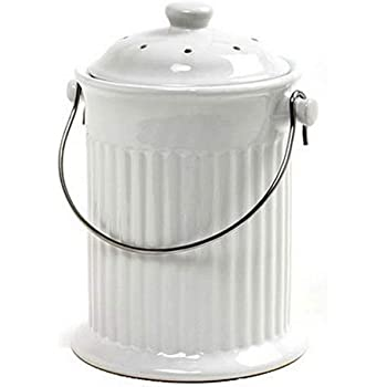 Norpro, White , 1 Gallon Ceramic Compost Keeper, One Size