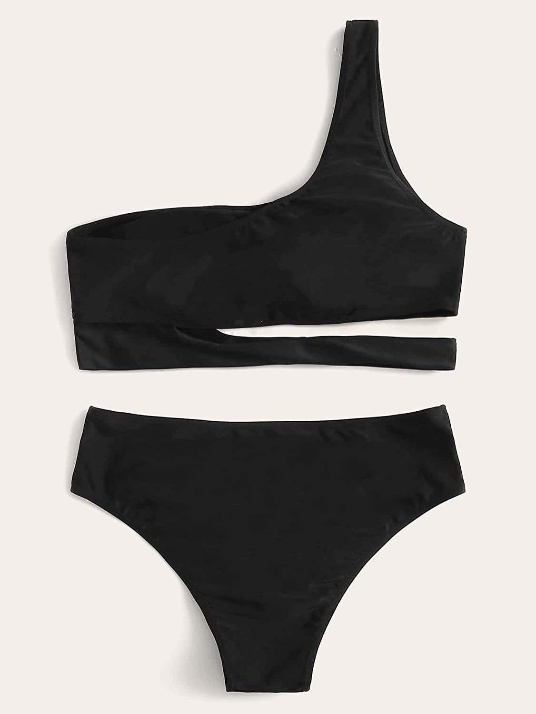 Floerns Women's Bathing Suit Cut Out One Shoulder Two Piece Bikini Swimsuit