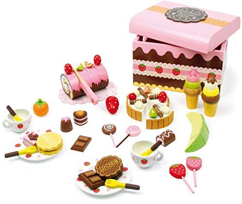 2847 Contenitore per dolciumi small foot, Scatola di caramelle di legno, accessori per negozio e cucina da gioco per bambini con dolci, 56 pz., da 3 anni di età