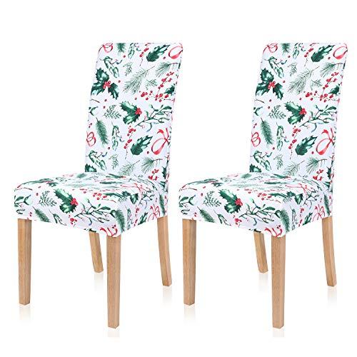 Homaxy Fundas elásticas para sillas de comedor, fundas protectoras para sillas de comedor de elastano, extraíbles, lavables, juego de 2, Navidad C