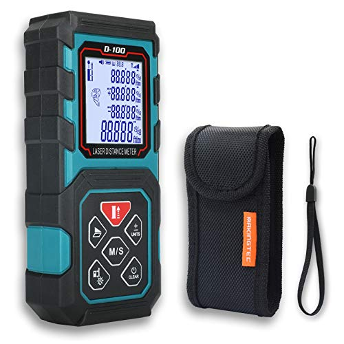 MAKINGTEC Laser Measure 328Ft M/In/Ft Laser Distance Meter,5 Measurement Modes, Pythagorean Mode,LCD Backlight Display, Volume, Area Measurement, Digital Laser Tape Measure D100 Color Blue