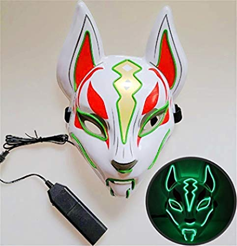 NKJBUVT Máscara De Zorro Línea De Neón Accesorios De Disfraces De Halloween Máscara Brillante Inducción Drift Máscara Controlador Flash con Música para Fiesta Cosplay (Verde) @ Verde
