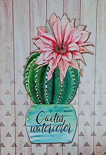 Cuadro de Madera Vintage Cactus, 37x26x1...
