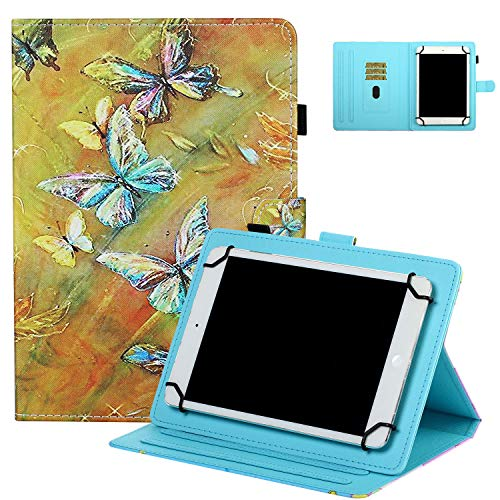 Universal Case for 7' Tablet, UGOcase Stand Folio Protective Case Cover for Galaxy Tab 3 Lite 7.0/Tab 4 7.0/ Tab E Lite 7.0/ Mediapad T3 7.0' and More 6.5'-7.5' Tablets - Butterfly