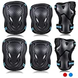 Labeol 6 Pack Kids & Adults Skateboard Ice Roller Skating Protective Gear Elbow Pads Wrist Guard Cycling Riding Knee Protector Set (Black and Blue, Medium)
