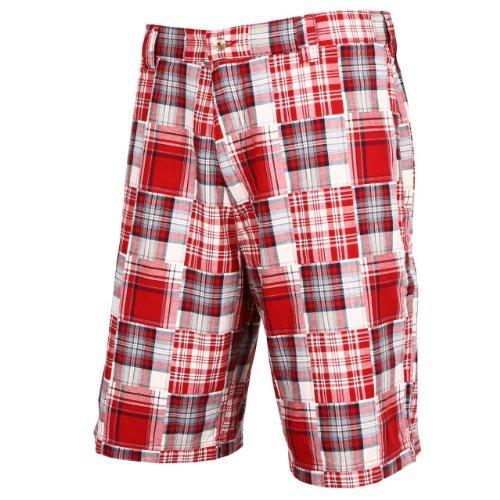 Tres Bien Golf Men's 100% Cotton Patch Work Plaid Shorts-Red-40
