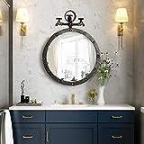 Miroir De Salle De Bain Rond De Style Industriel RéTro, Miroir De Courtoisie Pour Salle De Bain, Miroirs Muraux DéCoratifs, 50x46cm / 19.6x18.1in