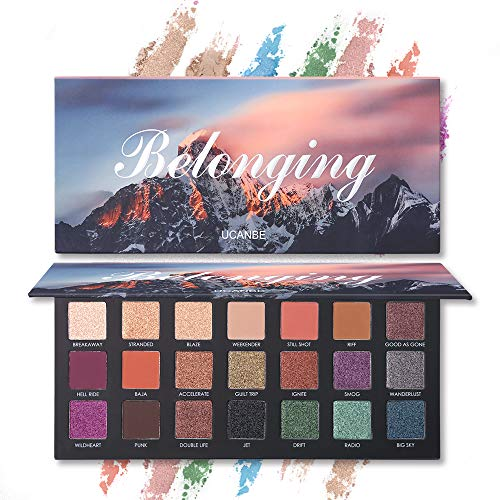 UCANBE 21 Colors High Pigmented Eyeshadow Palette Shimmer Matte Glitter Metallic Creamy Shades Long Lasting Blendable Eye Shadow Pallet (Belonging Palette)