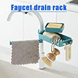 Liamostee Double Layer Rotatable Rag Sponge Basket Faucet Drain Rack Organizer Durable