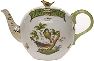 Herend China Rothschild Bird Green Border Tea Pot With Bird
