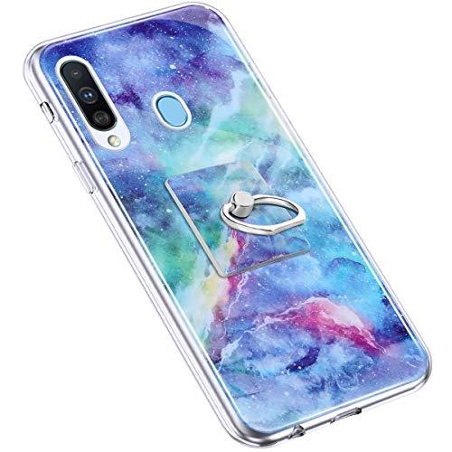 Uposao Kompatibel mit Samsung Galaxy A20S Hülle Marmor Muster TPU Silikon Hülle mit 360 Grad Ring Ständer Ultra Dünn Silikon Matt Marble Muster Case Crystal Clear Silikon Bumper Hülle,Blau