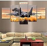5 paneles Jet Fighter Mikoyan Mig-29 lienzo pintura pared arte lienzo pared póster imágenes sala de estar 150x80cm
