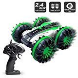 Amphibious RC Stunt Car 2.4Ghz - 4WD Water and Land Remote Control Boat Truck Monster Double Sided Rotate, 360 Degree Spinning and Flips Land Wateproof elecrtric Car Toy.(Green)