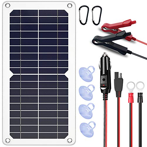 SUNAPEX 10W 12V Portable Solar Battery Charger & Maintainer - Solar Panel-Built - in Intelligent Charge Controller-Solar Powered Charger for Automobile Car RV, etc