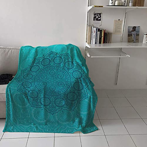 Manta de franela de felpa con textura de flores de mandala azul aguamarina, suave, ligera, acogedora manta decorativa para sofá