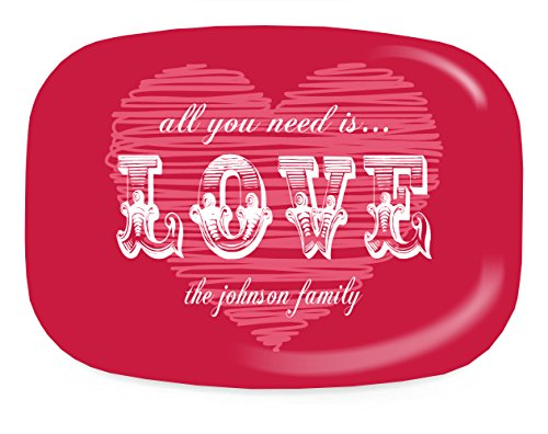 Personalized Melamine Valentine's Day All You Need is Love Platter