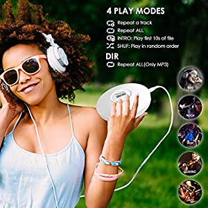 Portable Personal CD Player Built-in 1400mAh Battery Rechargeable Discman Anti-Skip/Shockproof Compact Player Stereo with Headphones Music Disc Walkman Player with LCD Display, White