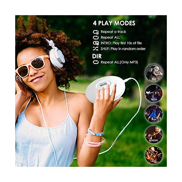 Portable Personal CD Player Built-in 1400mAh Battery Rechargeable Discman Anti-Skip/Shockproof Compact Player Stereo with Headphones Music Disc Walkman Player with LCD Display, White 4
