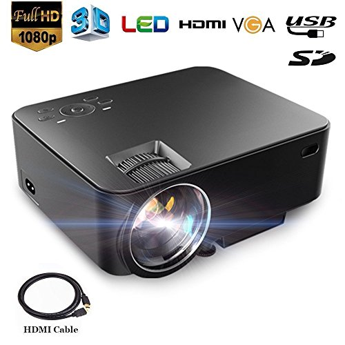 """Dinly LED Projector, 1500 Lumens Video Projector with Hugh Screen 170"""" Support HD 1080P HDMI VGA AV USB Input Multimedia Portable Projector for Home Theater Office Laptop U-disk Xbox PS4 DVD"""