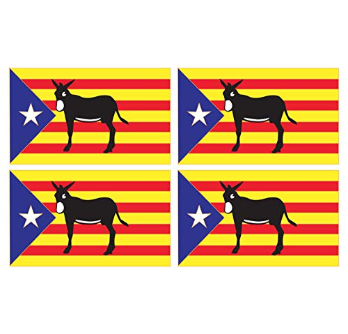 Supstick Set van 4 Franse Catalaanse Vlag Stickers 12 x 8 cm