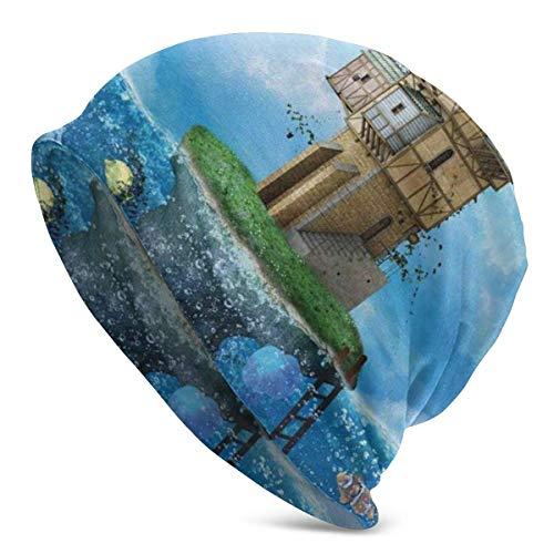 Beanie Hombre Mujer - Fantasía Casa de Pescador Cuento de Hadas Vida submarina Peces Coral Cielo Nublado - Gorro de Punto con Calavera Liso con puños Unisex