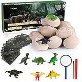 Anpro 12 Huevos de Dinosaurio,Kit de Excavación,Incluye 12 Figuras de Dinosaurios de Juguete, Regalo Infantil para Aprender Ciencias de la Arqueología