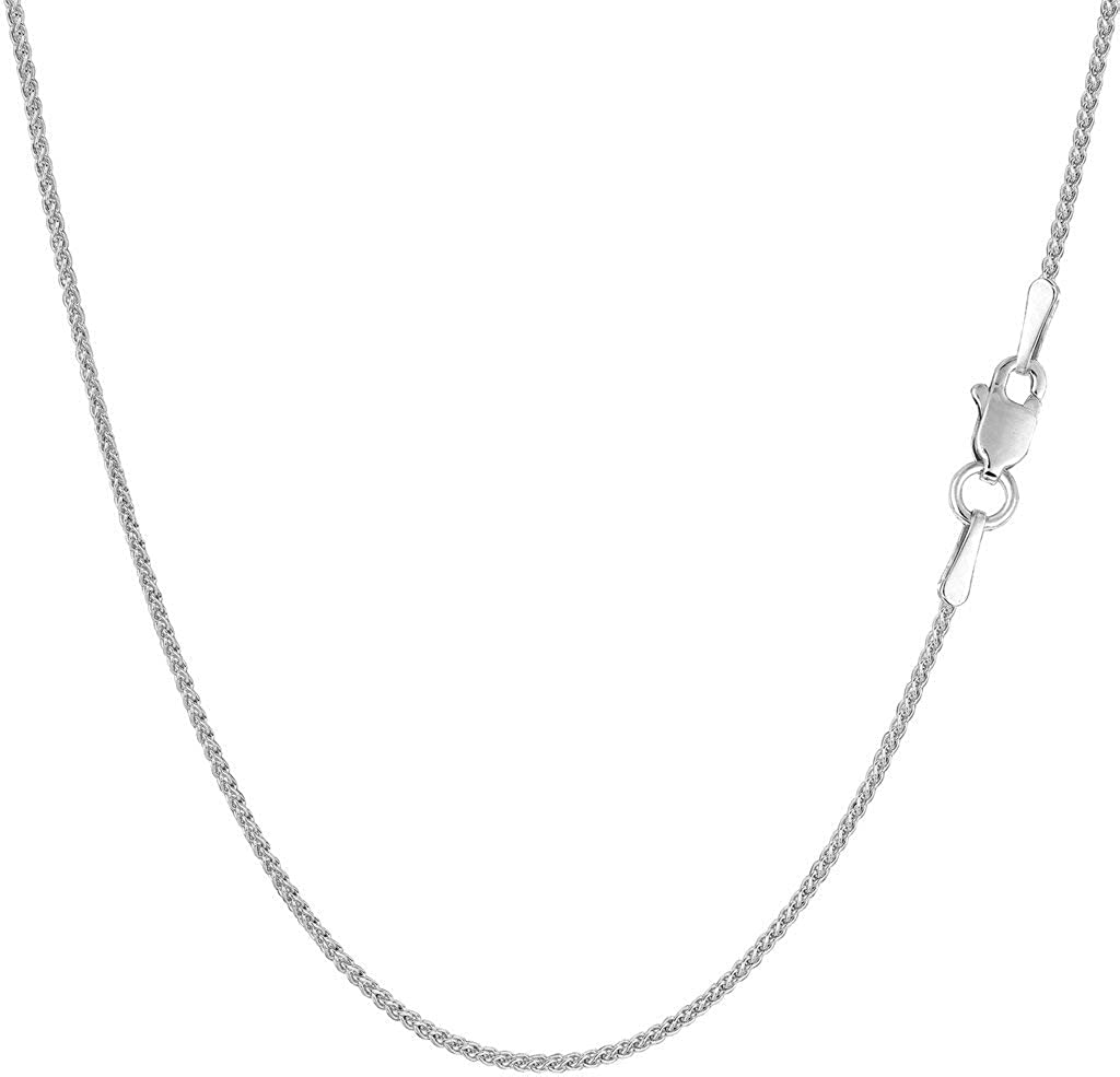 14k SOLID Yellow or White Gold 1.00mm Shiny Round Wheat Chain Necklace for Pendants and Charms with lobster-Claw Clasp Womens Chains And Jewelry (16