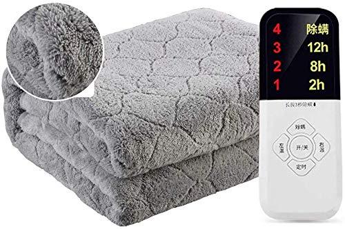 L & WB Elektrische verwarmingsdeken, eenpersoons Can Do-bed-blad dubbele regelthermostaat plumbing deken studentenhuishuis veilig deken, 200 * 180 cm, grijs