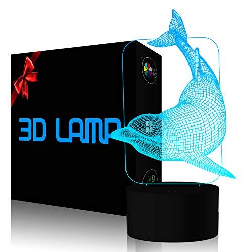 Dolphin 3D Effekt Illusion Lampen, FZAI 7 Farben Touch Schalter Schreibtisch LED Nachtlichter mit 150cm USB Kabel für Kinder Geschenk Home Decor