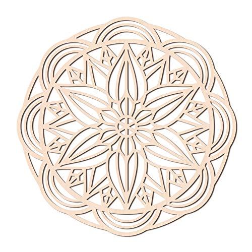 GLOBLELAND 12,2 Pulgadas Placa de Flores Decoración de Pared de Madera Decoración de meditación Decoración de Pared Escultura Cuadrícula de Cristal Geometría Sagrada Arte de la Pared Decoración