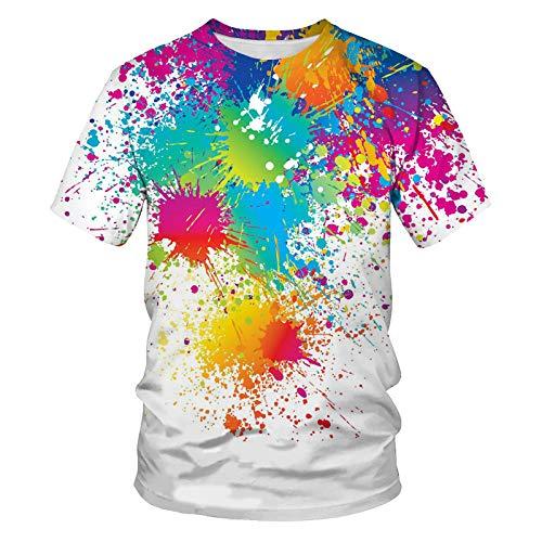 SKLHSIL 3D Gedrucktes T-Shirt,Unisex Casual Rundhals Neuheit T-Shirt Abstrakte Doodle Grafik Sommer Kurze Ärmel Atmungsaktive Tops Geeignet Für Mode Unisex Teens Urlaub Party, Xx, Große
