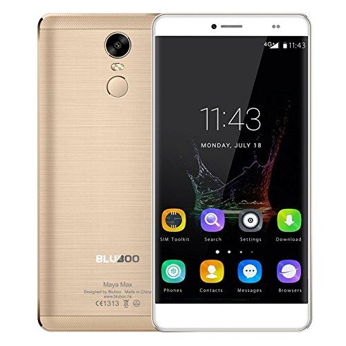 "Bluboo Maya Max - 4G Smartphone Libre Android 6.0 (6.0"" HD, Octa Core 1.5Ghz, 3G Ram 32G Rom, Cámara 13Mp, Dual Sim, Carga Rápida, Huella Dactilar, Type C, Smart Wake) (Dorado)"