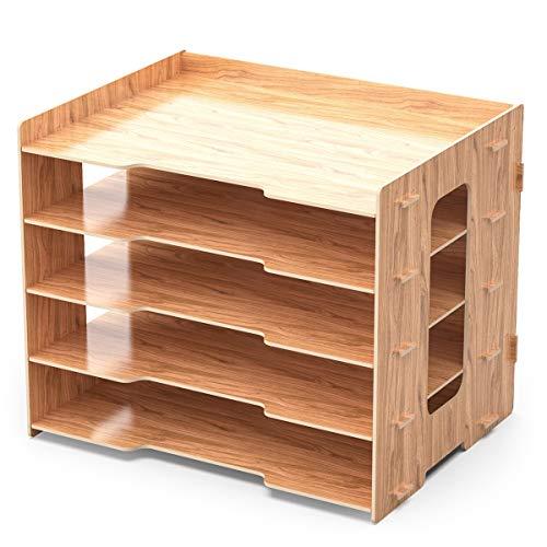 Lesfit Schreibtisch Organizer Dokumentenablage Ablagesystem, Ablagefächer Holz-Optik, Büro Aktenablage Schreibtischregal, Bürotisch A4 Papier Briefablage Papierablage, 33,2x24,8x27cm