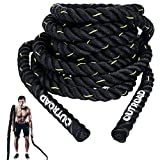 Max4out Battle Ropes 1.5 inch 30 ft - Polyester Workout Rope Heavy for Home Body Workouts Building Muscle, Yellow