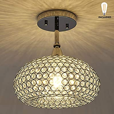 SHUPREGU Lighting, 1 Light Chrome Finish Flush Mount Light Fixture, Real Crystal Chandelier, Ceiling Light Fixture Flush Mount. LED Bulb Included