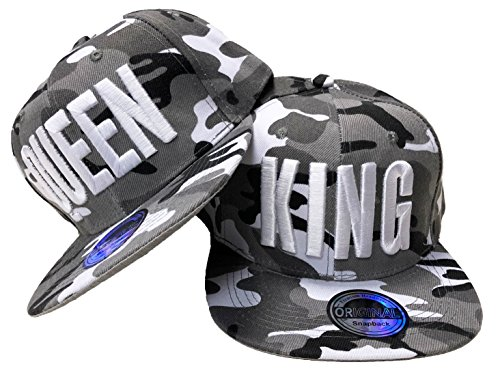 JameStyle26 King & Queen - Gorra de béisbol, diseño de la película Trucker King & Queen Camou - Juego de macetas, Color Gris Talla única
