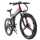 L.HPT Bicicleta de montaña eléctrica Bicicleta Plegable para Hombre 26 Pulgadas 27 48V10Ah batería de Litio Bicicleta para Adultos Carga máxima 150 kg Resistencia 90 km Negro + Rojo