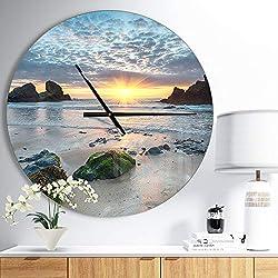 Design Art Designart 'Beautiful Porthcothan Bay' Oversized Coastal Wall Clock