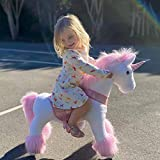 PonyCycle Official Classic U Series Ride on Horse Toy Plush Walking Animal Pink Unicorn Medium Size for Age 4-8 U402