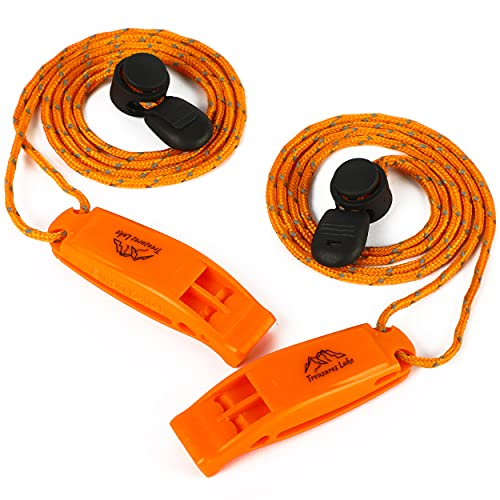 Treasures Lake Emergency Whistles with Lanyard- Extremely Loud Safety Whistle for Rescue Signaling, Hiking, Kayaking, Camping Lifeguard Coach Whistle, Pack of 2