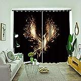 HKSOKLLJJ Cortinas Opacas Salon Fénix Abstracto con Aislamiento Térmico para Habitación de Ventanas 2 Pieza con Ojales-2 Panel   140 X 245 cm (An x Al)