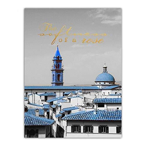 LZHProcess Famoso Pintor Arte Azul reproducción de Techo Decorativo HD estirado en Marcos de Madera Imprimir en Lienzo para la decoración del hogar GT;