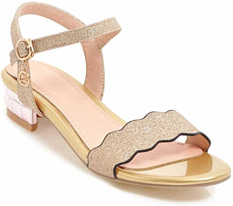 Women Sequins Open Toe Sandals Summer Roman Sandals Glamgoldus Ankle Strap Pumps Large Size