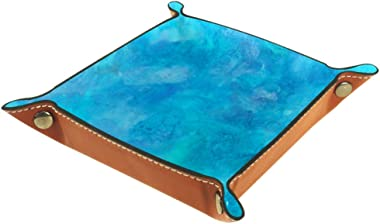 Bright Blue Teal Purple Watercolor Texture Valet Tray Storage Organizer Box Coin Tray Key Tray Nightstand Desk Microfiber Leather Pouch,16x16cm