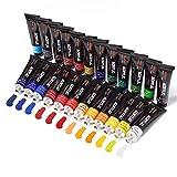 Set di Colori Acrilici, 24 Pezzi Tubi da 12 ml, per Pittura su Muro, Legno Tela, Legno, Ceramica, Argilla, Tessuto, per Artisti, Principianti o Bambini