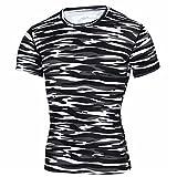 Morbuy Maillot Compression à Manches Courtes pour Homme Sport Séchage Rapide Base Layer Tee Shirt Vêtement pour Sports Jogging Musculation Gym (2XL,Zèbre)