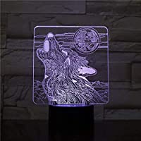 LED USB 子供用ナイトライト Wolf Roaring Moon 3DランプナイトライトUSB /バッテリー式LEDナイトライトランプティーンエイジャー向けビジュアルライトエフェクトギフト